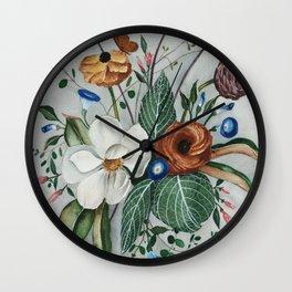 Moody Magnolia Arrangement Wall Clock