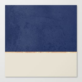 Navy Blue Gold Greige Nude Canvas Print