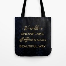 We are like a snowflake - gold glitter Typography on dark background Tote Bag