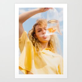 Girl with Goldfish Art Print