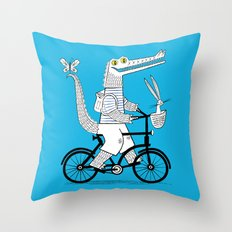 The Crococycle Throw Pillow