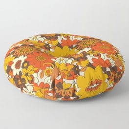 Retro 70s Flower Power, Floral, Orange Brown Yellow Psychedelic Pattern Floor Pillow