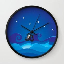 pirate ship at the sea Wall Clock
