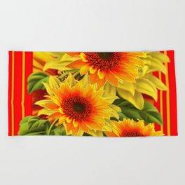 GOLDEN YELLOW KANSAS SUNFLOWERS RED ART Beach Towel