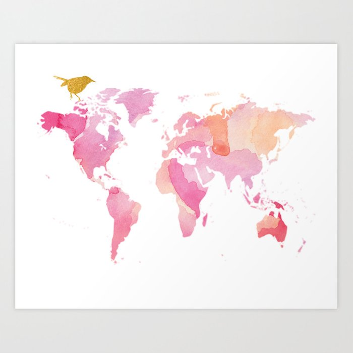 Pink And Gold World Map Art Print By Wordsandconfetti Society6