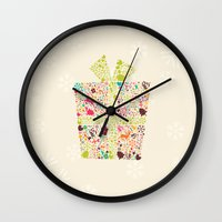 gift card Wall Clocks featuring Christmas Gift 02 by BlueLela