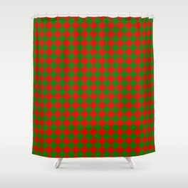 VERY SMALL green and red CHRISTMAS HARLEQUIN DIAMOND PATTERN Shower Curtain