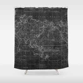Black and White World Map (1799) Inverse Shower Curtain