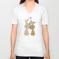 jackalope V-neck T-shirts featuring Jackalope Love by Sara Showalter