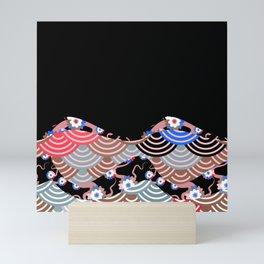 Nature background with japanese sakura flower Cherry, black wave circle pattern Mini Art Print