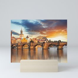 Historic Charles Bridge Prague Czechia Vitava River Europe At Romantic Evening Red Ultra HD Mini Art Print