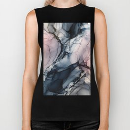 Blush, Navy and Gray Abstract Calm Clouds Biker Tank