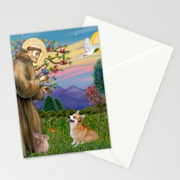 Saint Francis Welsh Corgi (Pembroke) Stationery Cards