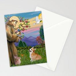 Saint Francis Welsh Corgi (Pembroke) Stationery Cards