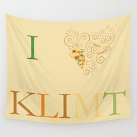klimt Wall Tapestries featuring I heart Klimt by Simple Symbol