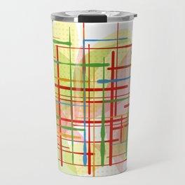 Abstract Lines Shapes Green and Yellow Travel Mug