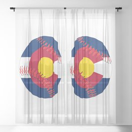 Colorado Flag Baseball Sheer Curtain