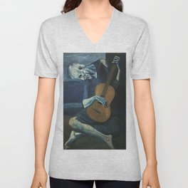 The Old Guitarist Unisex V-Neck