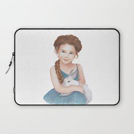 Little girl stroking  bunny Laptop Sleeve