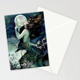 Henry Clive: Mermaid with Pearl dark teal Stationery Cards