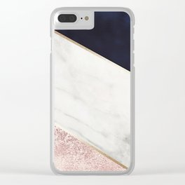 Rose Glitter, Gold, Marble And Navy Blue Abstract Art Clear iPhone Case