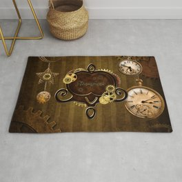 Awesome steampunk design with clocks and gears Rug