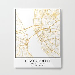 LIVERPOOL ENGLAND CITY STREET MAP ART Metal Print