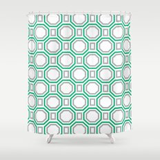 Polygonal pattern - Turquoise green and Gray Shower Curtain