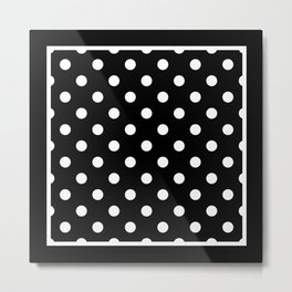 Black Polka Dots Palm Beach Preppy Metal Print