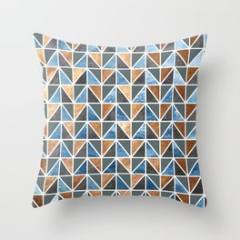 Gold Steel Ice geometric pattern Throw Pillow