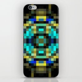 geometric square pixel abstract in blue and yellow with black background iPhone Skin