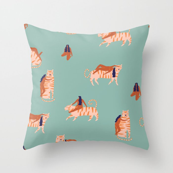 Tigers and girls Throw Pillow