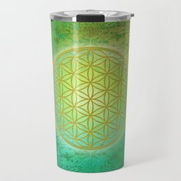 Flower Of Life Vintage gold green Travel Mug