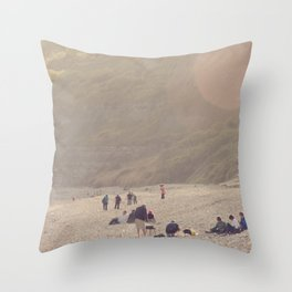 sandy sausages by the sea shore... Throw Pillow