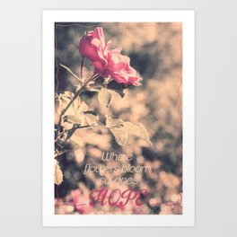 Hope (Hibiscus Pink Rose with Inspirational Quote) Art Print