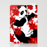 red panda Stationery Cards featuring Panda by Saundra Myles