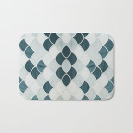 Moroccan Scalloped Flower Teal Bath Mat