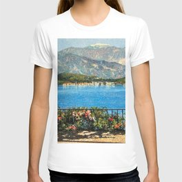 Lake Maggiore, View of Isola Bella Borromean Island landscape painting by Angelo Morbelli T-shirt