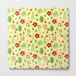 Tropical yellow red green modern floral pattern Metal Print