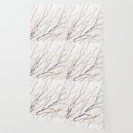 Snowy birch twigs and leaves #society6 #decor #buyart Wallpaper