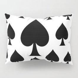 LOTS OF DECORATIVE BLACK SPADES CASINO ART Pillow Sham