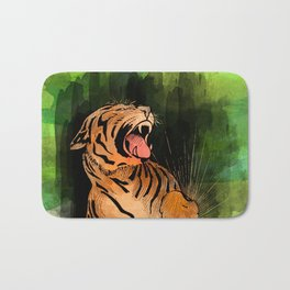 Vintage watercolor Tiger Bath Mat