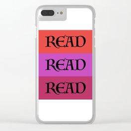 READ READ READ {PURPLE} Clear iPhone Case