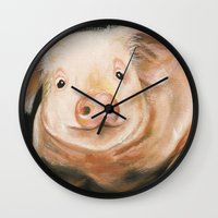piglet Wall Clocks featuring Pink Piglet by Heather Ann Orlando