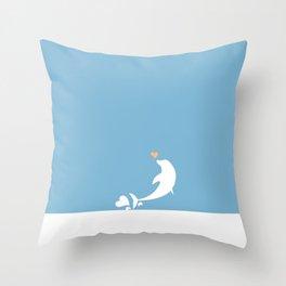Ocean Dolphin Blue Heart Love Throw Pillow