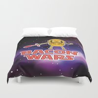 bacon Duvet Covers featuring Bacon wars by Enrique Valles
