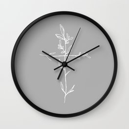 Twig Cross, A Simple Floral White Cross Wall Clock