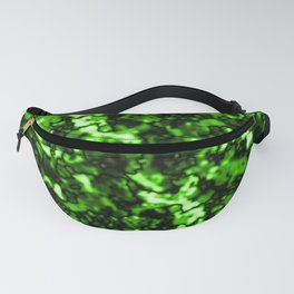 A bright cluster of green bodies on a dark background. Fanny Pack