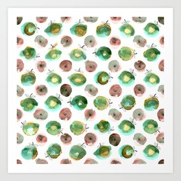 Watercolor seamless hand drawn pattern with green and brawn apples Art Print