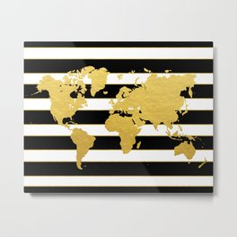 Gold Striped World Map Metal Print